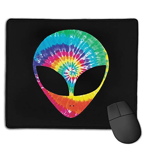 Rainbow Tie Dye Alien Gaming Mousepads Non-Slip Rubber Base Mouse Pad With Stitched Edge