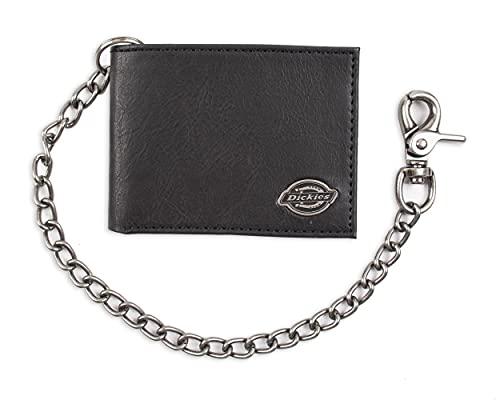 Dickies Herren Geldbörse mit Kette, mit Ausweisfenster und Kreditkartenfächern, pebbled black, One Size