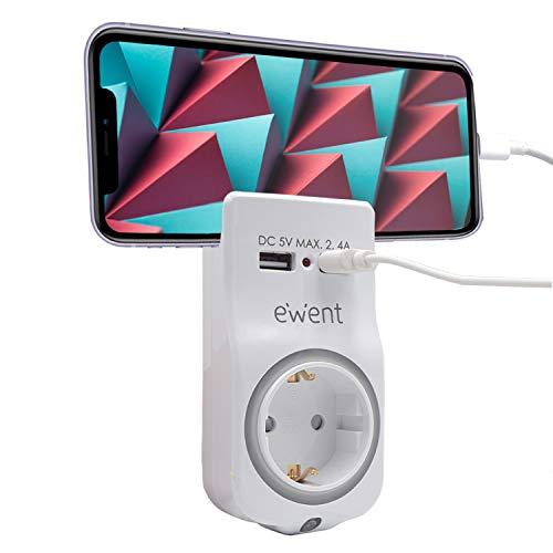 Ewent EW1225 - Cargador USB 4 en 1 2.4A. Adaptador de Pared 1 Enchufe Schuko 16A con luz Nocturna, Soporte para teléfono Inteligente/Tableta, 2 Puertos USB e indicador LED. De Color Negro