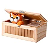 Cinhent Fully Assembled Useless Box with Turns Itself Off Useless Box Leave Me Alone Box Wooden Machine,Wooden Machine Don't Touch! Tiger Toy Funny Gift