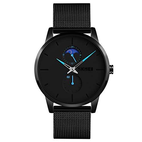 Relógio de pulso masculino SKMEI, relógio de pulso ultra fino à prova d'água para homens, relógio analógico de quartzo com pulseira de aço inoxidável, Casual, Azul, 1.65*1.57*0.47 inch