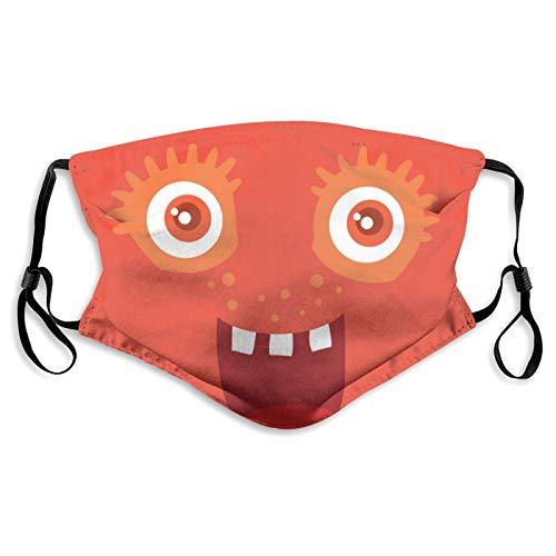ZVEZVI Lustige l?chelnde Bakterien Charakter Staub Gesichtsschutz Maske Waschbarer Mundschutz mit austauschbarem Filter Aktivkohle Weich atmungsaktiv Outdoor/Sport/Motor/Radfahren Erwachsene
