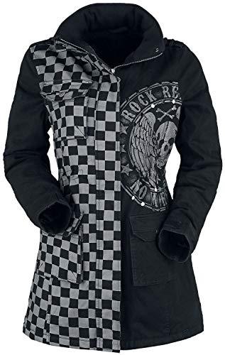 Rock Rebel by EMP schwarz/graue Jacke mit Nieten und Print Frauen Winterjacke grau/schwarz M
