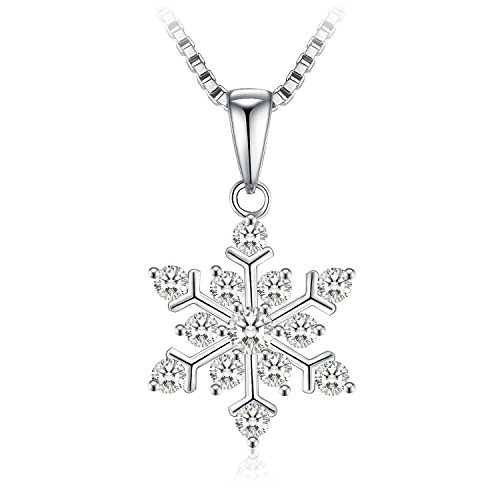 Kette Damen, J.Rosée, Schneeflocken Anhänger Halskette Zirkonia 925er Silber Schmuck