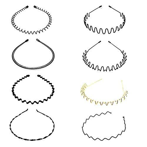 6 Stück Welle Metall Haarreif Stirnband Haarbänder Haarschmuck Stirnband Zubehör Für Männer Frauen Schwarz Unisex (Golden)