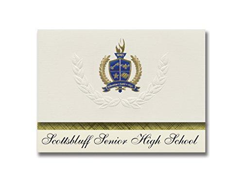 Signature Announcements Scottsbluff Senior High School (Scottsbluff, NE) Abschluss-Ankündigung, Standard-Packung mit goldener & blauer Metallic-Folienversiegelung