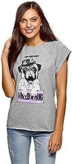 oodji Camiseta de Algodón Mujer con Estampado