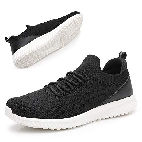 Damen-Sportschuhe zum Reinschlüpfen, leichte Damen-Turnschuhe aus Netzstoff, atmungsaktive Turnschuhe für Straßenläufer, athletische Freizeitschuhe, Schwarz - schwarz / weiß - Größe: 37 EU