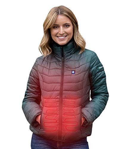 Beston Chaqueta calefactable Mujer - 3 Niveles de Temperatura, 5 Zonas de calentado, hasta 7 Horas de duración, Carga tu móvil hasta 4 Veces - Color Verde, Talla M