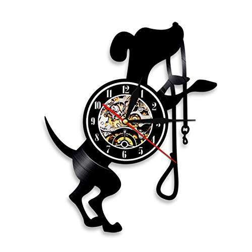 LIMN Reloj de Regalo 1 Pieza Lindo Perro Reloj de Pared de Vinilo Animal Vintage Retroiluminación LED Regalo Moderno Hecho a Mano para Amante de los Perros Decoración Interior de Sala de Estar Fresca