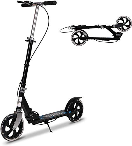Kick Scooter for Adults, Foldable Adult Scooter Adjustable Push Scooter with Kickstand, Dual Brake System, 200mm Wheels & ABEC-7 Bearings for Boys Girls Adults Teens Ages 12+