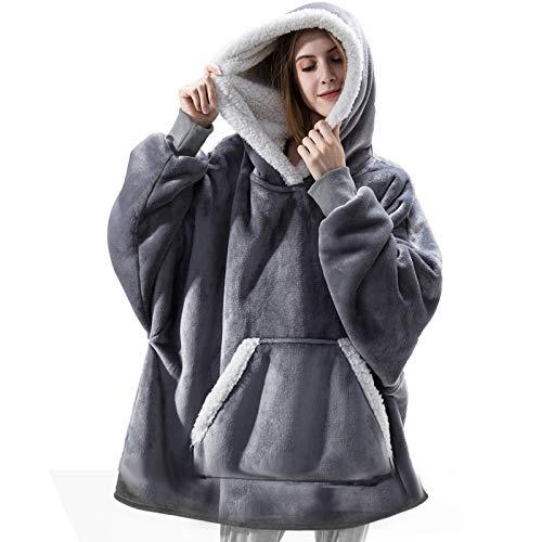 IvyH Übergroße Hoodie Decke Sweatshirt, SuperWeiche Warme Riesen Hoodie Fronttasche Giant Plüsch Pullover Decke mit Kapuze Einheitsgröße für Männer Frauen Mädchen Jungen Unisex(Grau)