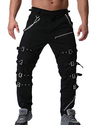 AKARMY Men's Fashion Hiphop Rock Punk Sport Hiking Riding Casual Cargo Pants K013 Black 36