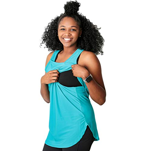 Movemama Nursing Tank Top for Women, Breastfeeding Top for Workouts and Athleisure Style (Teal, Large)