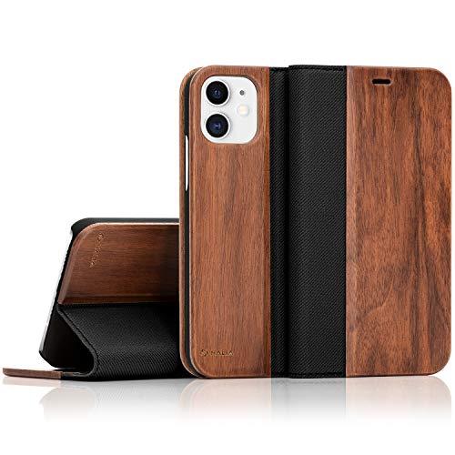 NALIA Wood Flip Case Compatible con iPhone 12 Pro/iPhone 12 Funda, Carcasa Protectora Madera Natural Full Body Cubierta Cover Trasera & Delantera, Telefono Movil Proteccion Completa Estuche - Nogal
