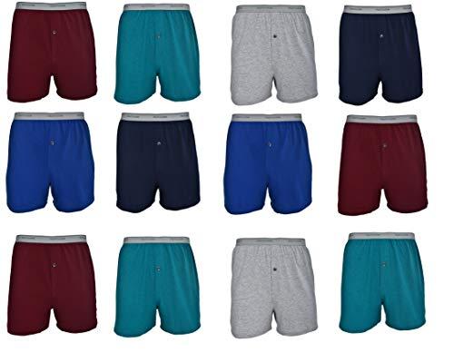 Fruit of the Loom Men's 12-Pack Knit Boxer Shorts Boxers Cotton Underwear 3XL