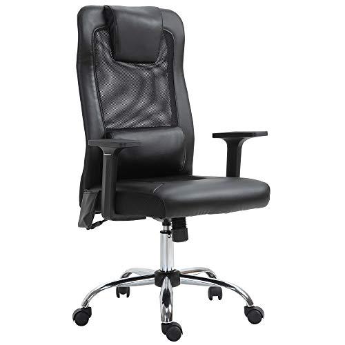 Vinsetto Massagesessel, Chefsessel mit Massagefunktion, höhenverstellbarer Drehstuhl, ergonomischer Gamingstuhl, Bürostuhl massage, PU, Metall, Schwarz, 63Bx 63 x 113-123 cm