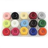"""1.2""""(30 mm) Clasificación de plástico grande Botones artesanales para coser abrigo, para tejer, Paquete de 60 piezas con caja (cada color 4 piezas) Leekayer"""