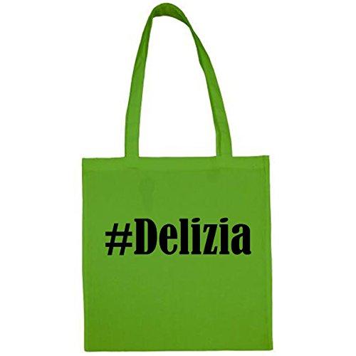 Tasche #Delizia Größe 38x42 Farbe Grün Druck Schwarz