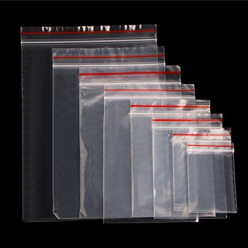 TSBB 8 Tamaños Clear Grip Self Press Seal Resellable Zip Lock Bolsas de plástico 100PCS