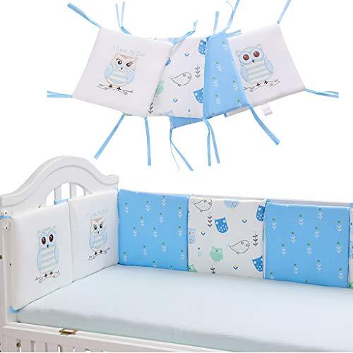 Protector Cuna, 6PCS Algodón Parachoques de cuna para bebé Cuna transpirable Ropa de cama Parachoques Protector decorativo para recién nacidos Cama Parachoques para dormir