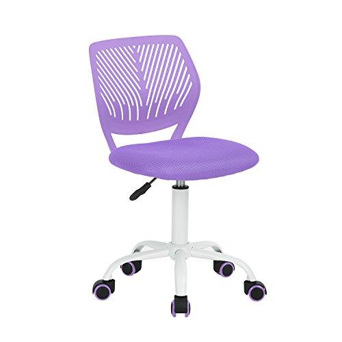 FurnitureR Silla de Escritorio de Trabajo de Oficina Silla de Estudio Ajustable para niños de Respaldo Medio Morada