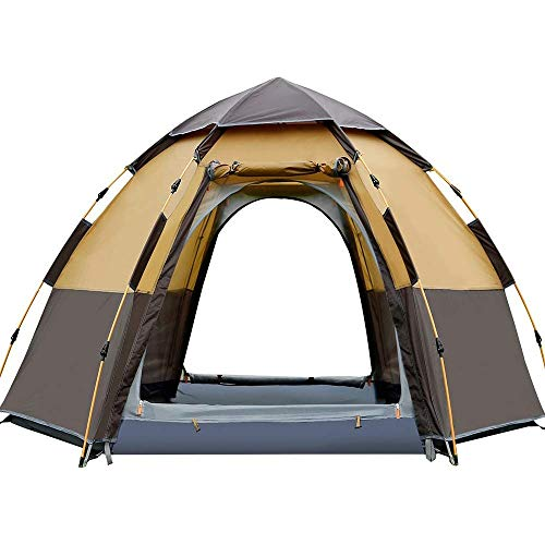 Pop Up Dome Tent for 3 to 4 Person,Automatic Opening Hexangular Hydraulic Double Layer Tent - Ultra Large Waterproof Tent with Porch - 100% UV Protected Family Camping Tents with Carrying Bag , Tent