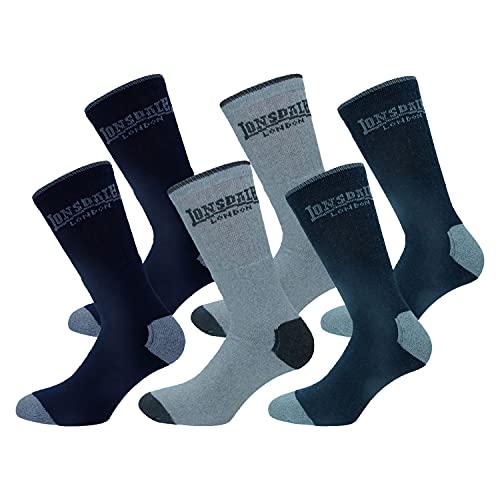 Lonsdale 6 paires de chaussettes courtes tennis, excellente qualité de coton (Bleu, Gris Mélange, 39-42)