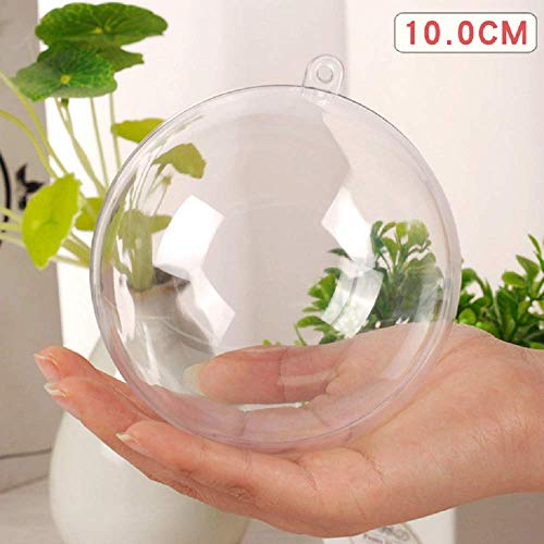 Uhat DIY Acrylic Fillable Baubles Assorted Size Clear Plastic Ornaments Ball Christmas Tree Decoration Pack 10 (10CM)