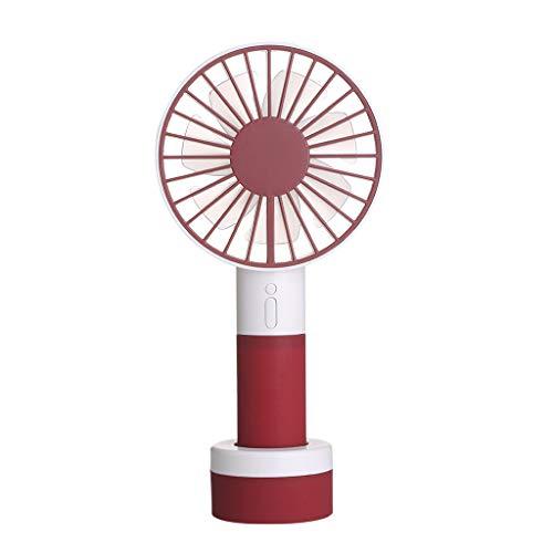 Sqiuxia Mini ventilador de mano con luz colorida, portátil, recargable, USB, ventilador de escritorio con mango base de pie, 3 velocidades, para casa, oficina, viaje, camping, color rojo