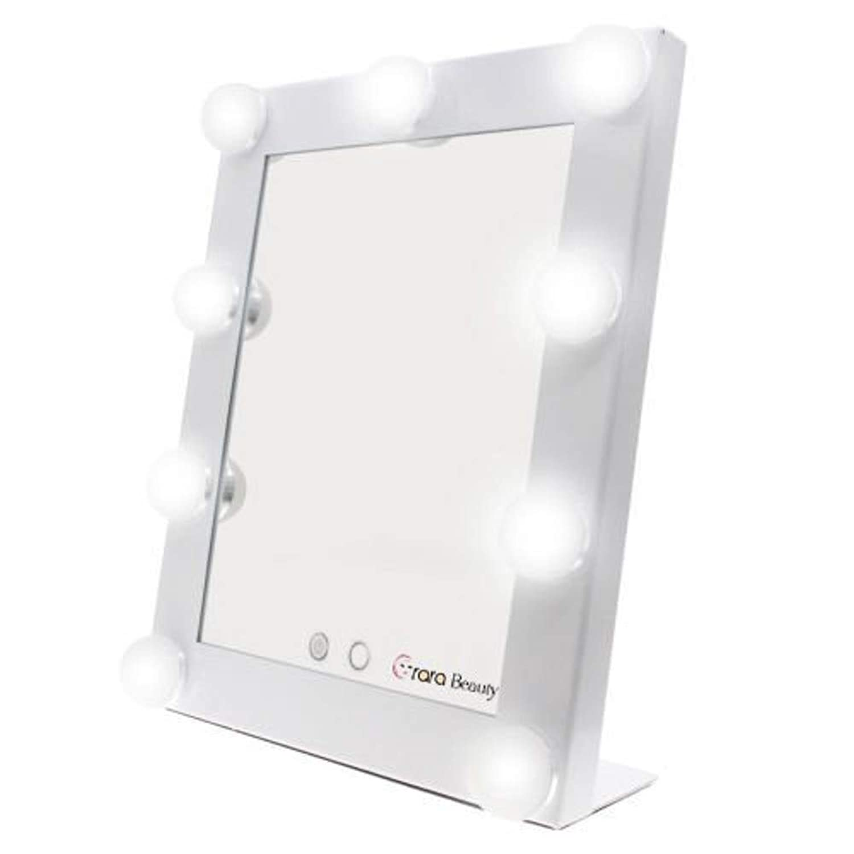 lily's JP home 化粧鏡 女優ミラー 化粧ミラー メイクアップミラー LEDライト付き ハリウッド式 9*3WLED電球付き 2way給電タイプ 卓上ミラー (ホワイト)