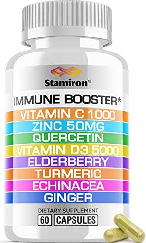 Immune System Support Booster Supplement 8 in 1 with Zinc 50mg Quercetin Vitamin C Vitamin D3 5000 IU Elderberry Turmeric - Immunity Defense Blend Gluten-Free Non GMO for Adults Men Women - USA 60 ct