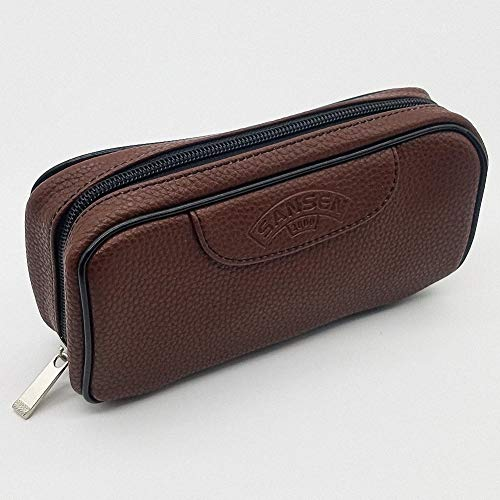 PU Leather Tobacco Smoking Pipe Pouch case/Bag for 2 Tobacco Pipe and Other Accessories-Brown
