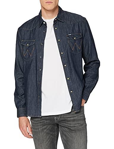 Wrangler Denim Western Shi Camisa Vaquera, Azul (Mid Indigo X8e), Medium para Hombre