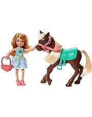 Barbie GHV78 - Barbie Club Chelsea Pop en Pony, 15 cm, Blond, met Outfit en met Accessoires