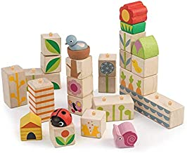 Tender Leaf Toys - 24 Piece Garden Themed Push & Click Stacking Blocks - Developmental Toy with Animal & Nature Themed Graphics - Develops Strategic Thinking & Fine Motor Skills - Kids 18 Months +