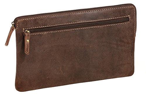 LEAS Banktasche & Geldtasche im Vintage-Style Echt-Leder, braun Special-Edition