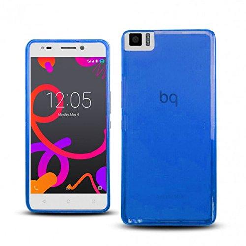 Funda para bq Aquaris M5 de Gel (Silicona), semirrígida, Color Azul translúcido