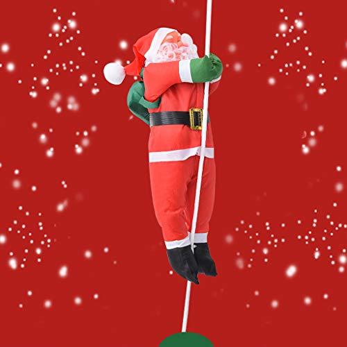 Christmas Santa Climbing Rope Ladder Xmas Tree Hanging Doll Ornament Party Child Decor 40cm (A)