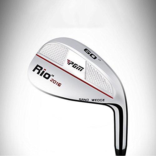 PGM Golf Sand-Wedge-Schläger, 56 und 60 Grad zur Auswahl, reguläre Form, für Rechtshänder, Edelstahl, 88,9 cm, Herren damen, SG001, silver/red line 60°