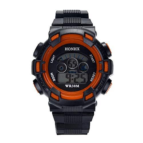 VECOLE Fitness Armband Kinder Junge Wasserdichte Wecker Datum Digital LED Sportuhr Fitness Uhr(Orange)