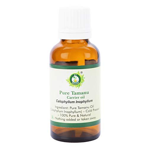 R V Essential Reines Tamanu Träger Öl 100ml (3.38 Unzen) - Calophyllum Inophyllum (100% reines und natürliche Kaltgepresste) Pure Tamanu Carrier Oil