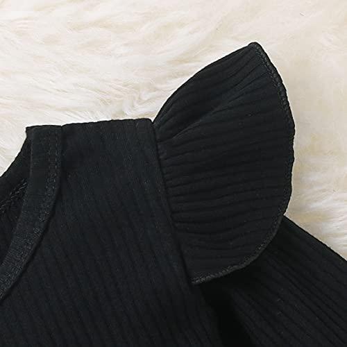 Disfraz de Navidad para bebé niña, 2 piezas, camiseta de manga larga con volantes, color liso + falda con tirantes a cuadros con lazo, Manta roja., 1-2 Años