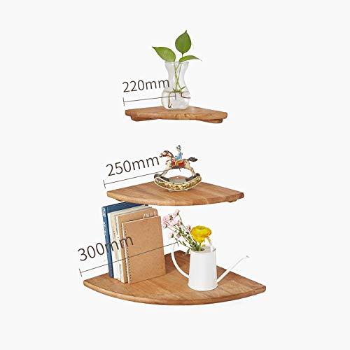 Zwevende Planken, Houten Decoratieve, Zwevende Plank Tv-Componenten, Garage/Schuur/Magazijn/Vrijstaande Opslagplanken,Waaiervormig Hoekrek-Houtkleurig Driedelig Pak