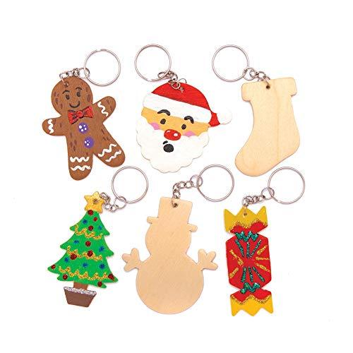 Baker Ross AT212 Weihnachten Schlüsselanhänger aus Holz (8 Stück) Basteln für Kinder, holzfarben