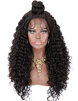 Kalyss 24  Synthetic Lace Front Wigs With Baby Hair for Women Updo Bun Hairstyle Free Parting Black Curly Wavy Lace Frontal Wigs