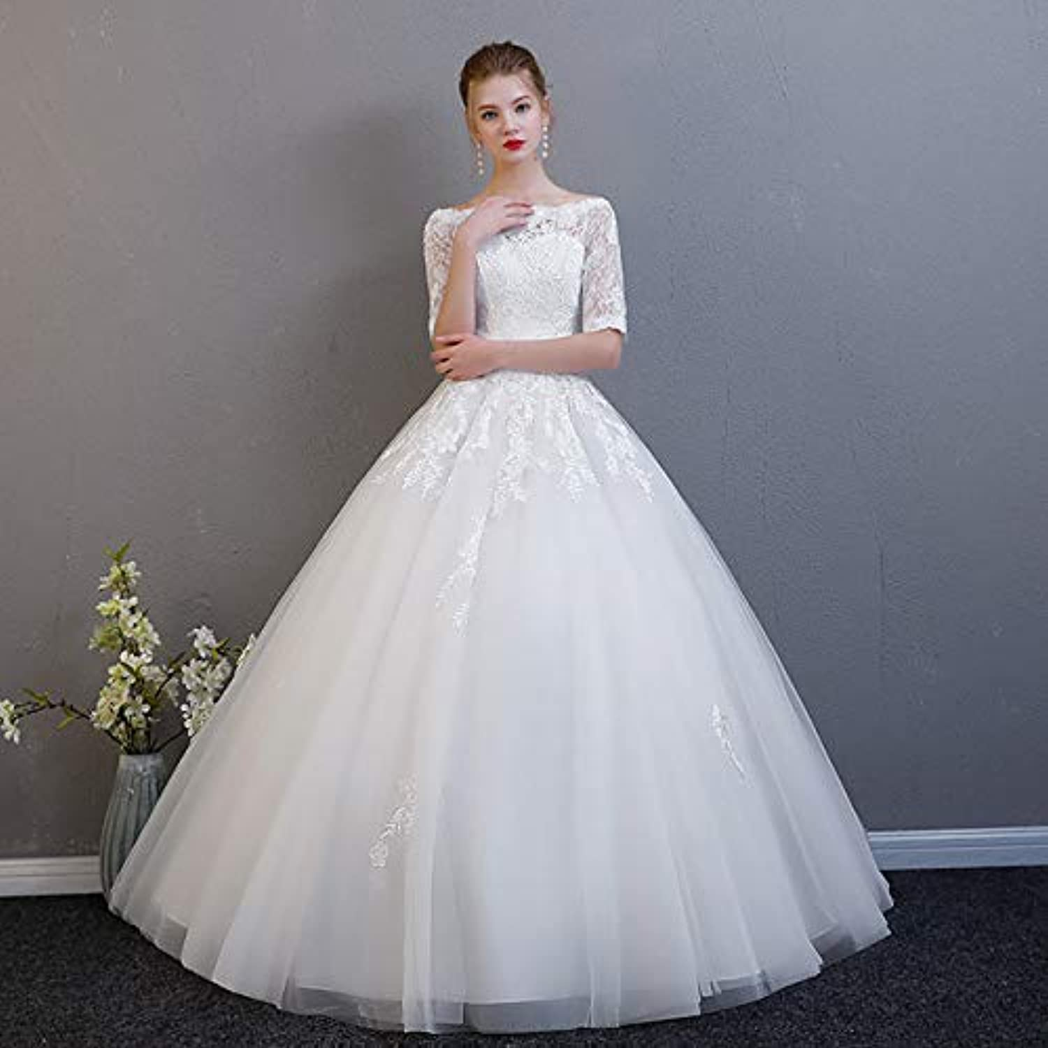 Fashion Slim Aline Wedding Dresses for Bride Simple Elegant Medium Sleeve Floor Length Dresses with Lace Appliques Suit for Ceremony Party