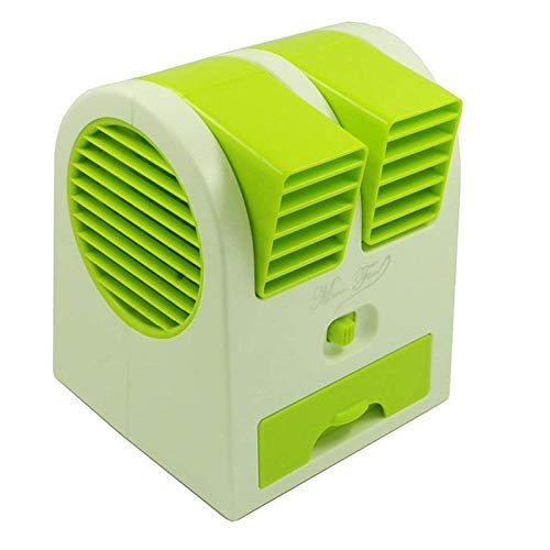 Nitman Mini Travel AC Fan USB and Battery Powered Portable Size Dual Blower Desk Table Air Cooler Fan Portable Dual Bladeless USB Fan - Multicolor