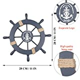 Fangoo 2 Pack 28 CM Steuerrad mit Holz und 33CM Anker Holz Steuerrad mit Seil Nautical Boat Wanddeko Maritime Deko Tür hängen Ornament - 4
