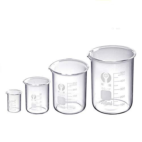 Becher-Set aus Glas, 4 Größen, 10 ml, 50 ml, 250 ml, 500 ml
